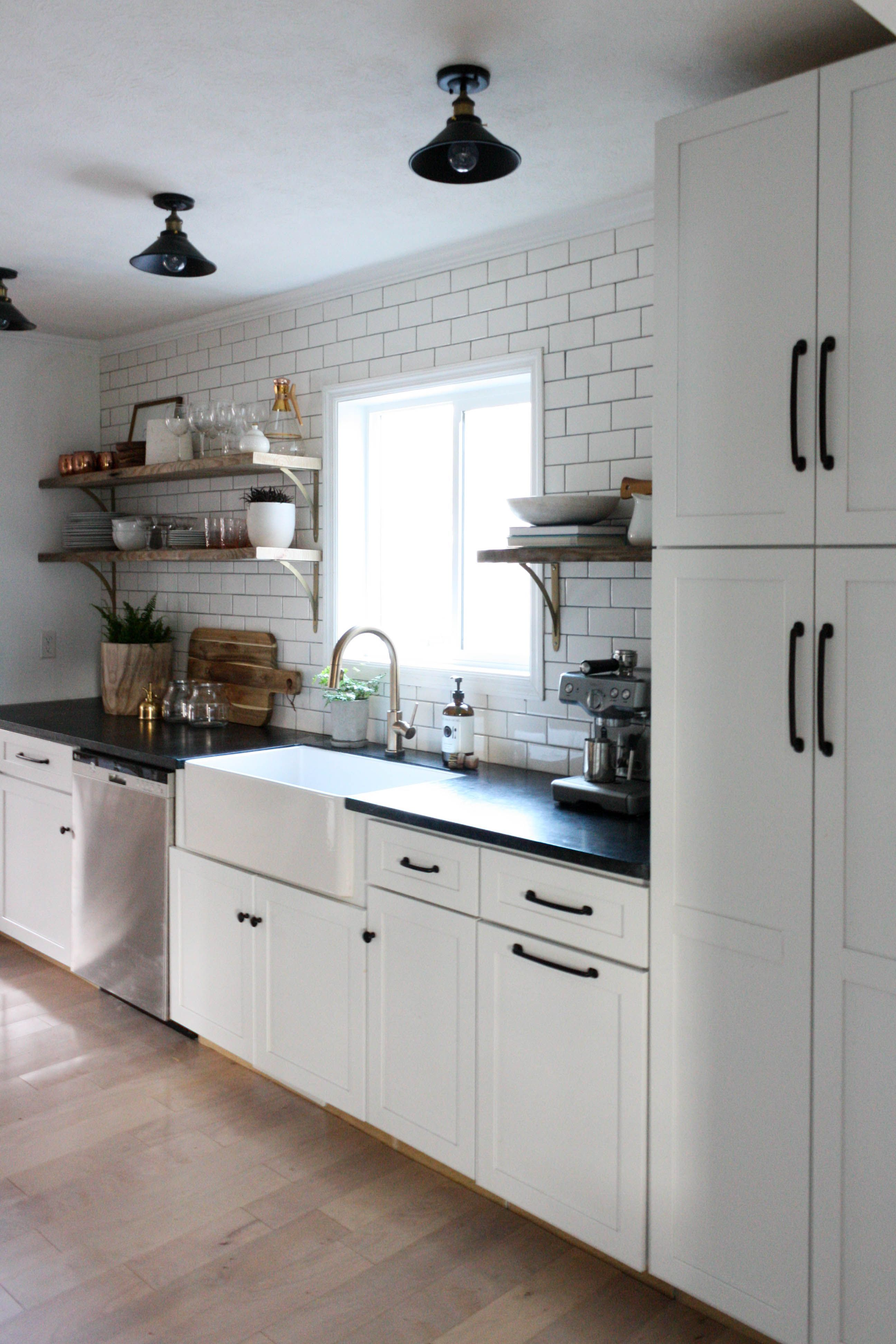 Two Tone Kitchen in 2020 Black kitchen countertops
