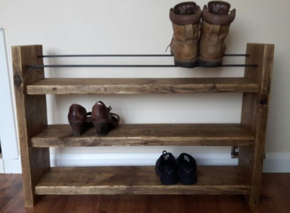 Shoe Rack Rustic Decor Reclaimed Wood Wood Shoe Rack Etsy Wood