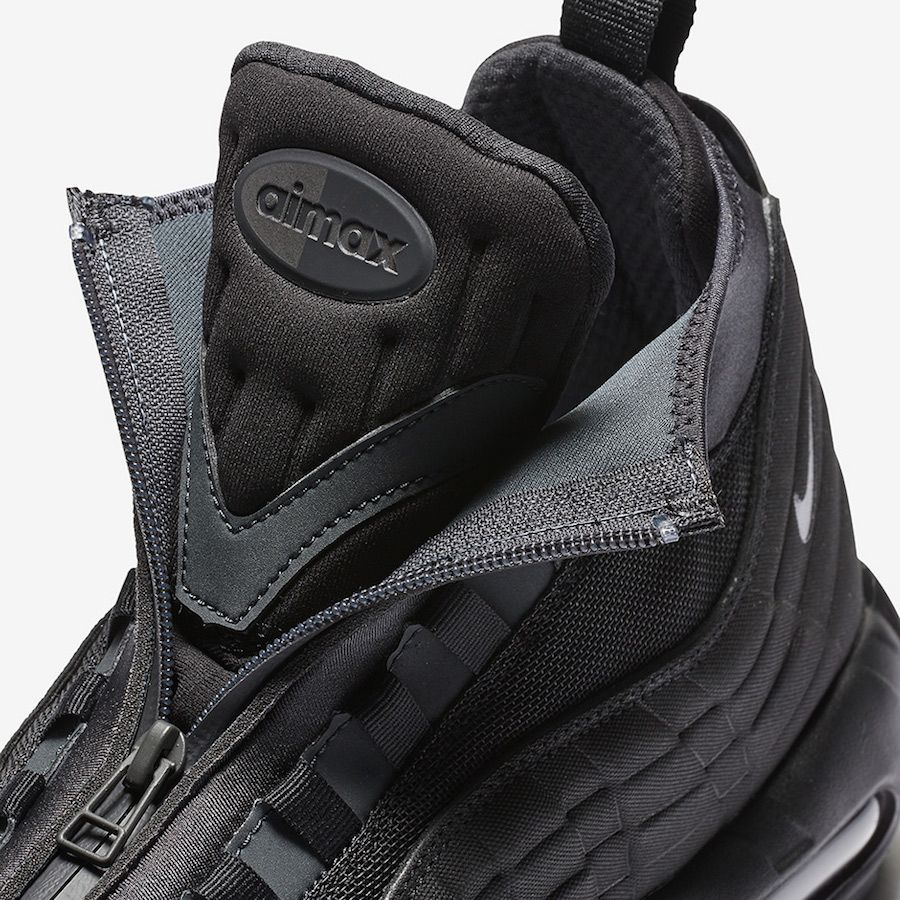 The Nike Air Max 95 Sneakerboot Triple Black (Style Code: features a  murdered out Triple Black color scheme for Fall/Winter