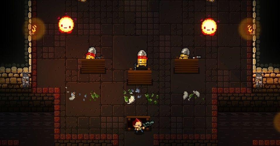 """Não deixe o visual retrô te enganar: """"Enter the Gungeon"""" traz ao PC e PS4 uma chuva de balas com mecânicas dos melhores shooters atuais"""