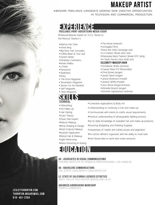 Curriculum Vitae u2026 Pinteresu2026 - make up artists resume