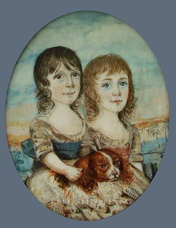 portrait miniatures: Two Children and their Spaniel, by William Read, circa 1790. William Read (fl 1778-1808) Read exhibited only four miniatures during his lengthy career, three at the Royal Academy and one at the Society of Artists, all from addresses in London. 2 1/8 inches (6.7 cm) high.