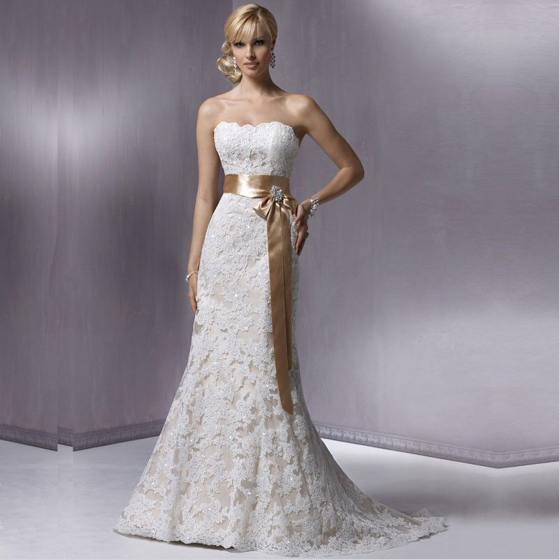 Cheap Wedding Dresses Nashville Tn: Sweetheart Lace And Satin Sash A-Line Dress :: Clearance