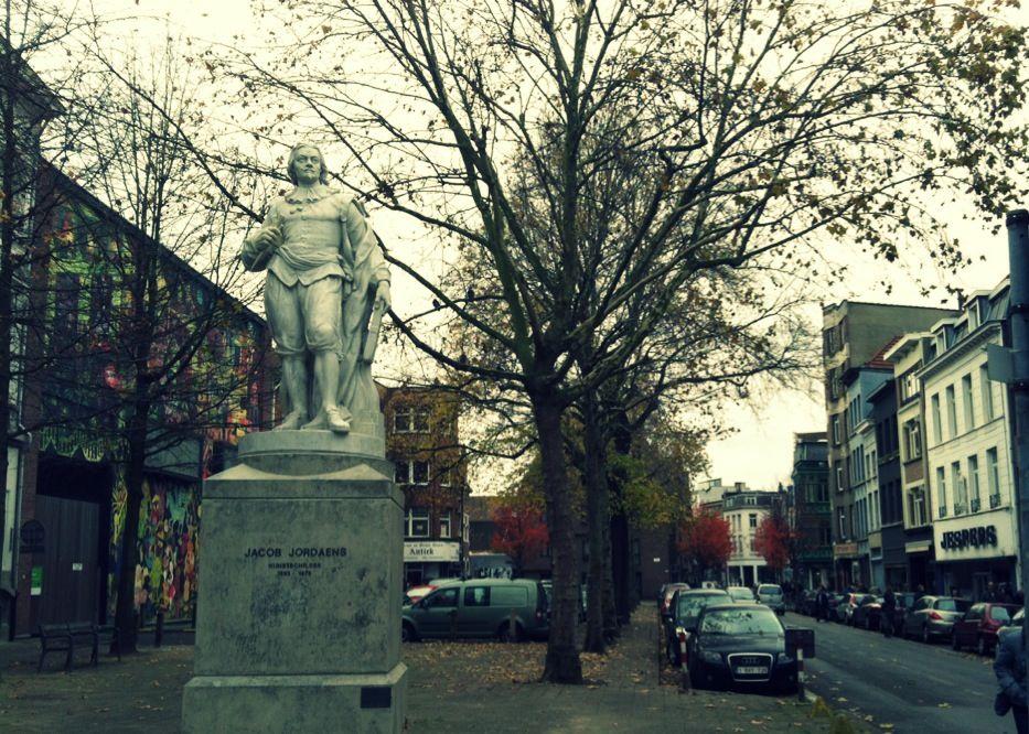 Jacob Jordaens en una calle de Amberes