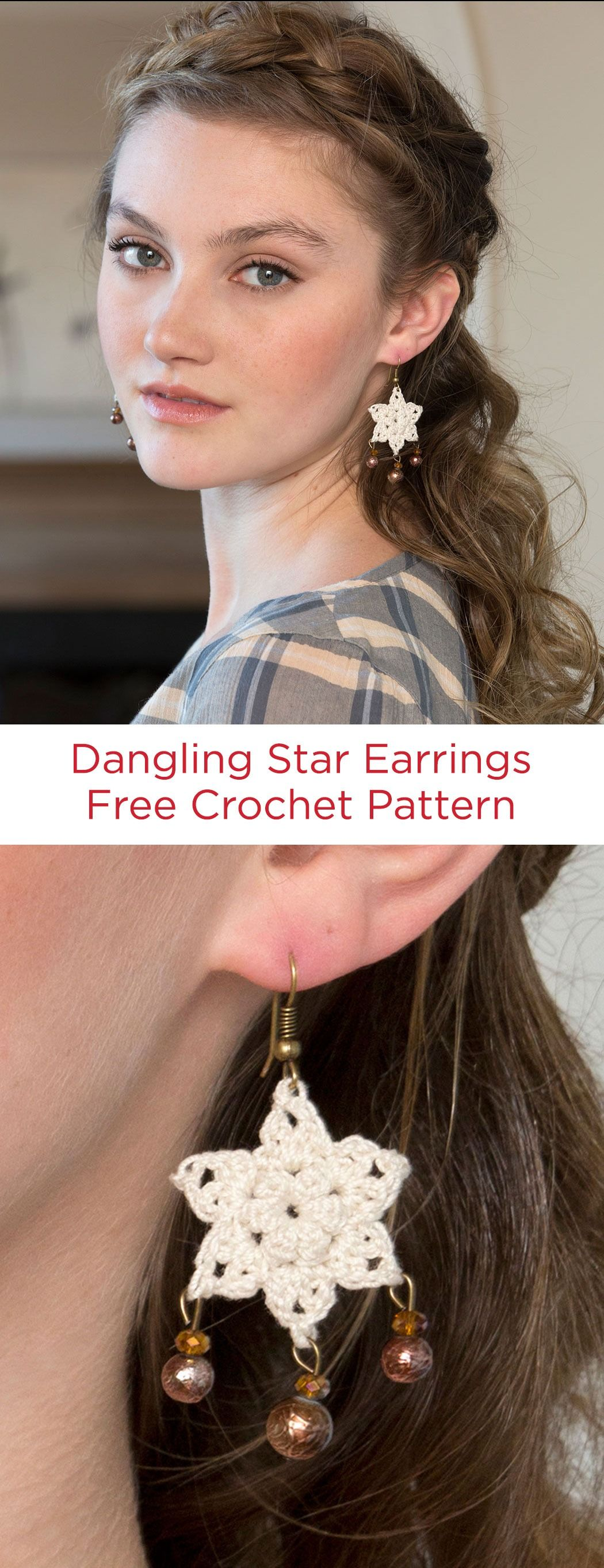 Dangling Star Earrings Free Crochet Pattern in Red Heart Crochet Thread -- Add dangling beads to these stunning crocheted earrings and give them extra appeal! Need a certain color for your outfit? Check out all the colors available in size 10 crochet thread.