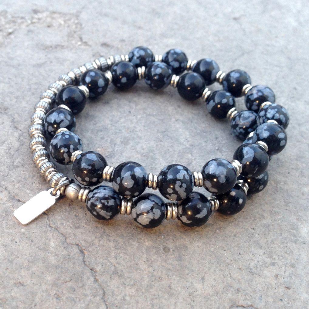 Strength genuine obsydian bead mala unisex bracelet strength