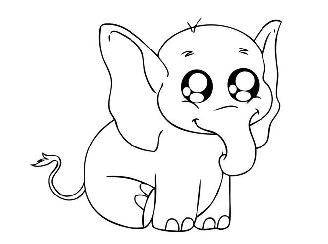 Small Elephant Sitting Relaxed Coloring Pages For Kids C3v Printable Elephants Coloring Pages For Kids Putri
