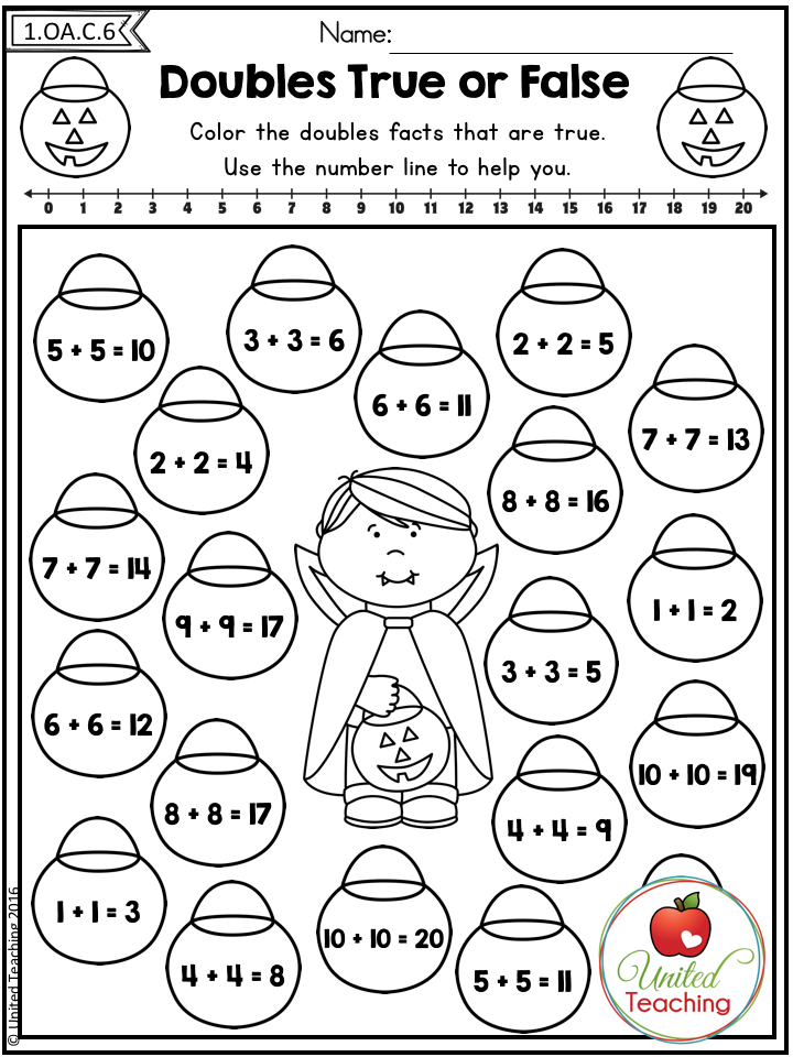 Doubles Addition Strategy Find The Double Facts That Are True Use The Number Line To Check Your Answ Halloween Math Worksheets Math Doubles Math Worksheets