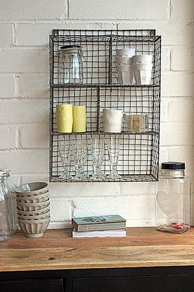 Wall Mounted Wire Storage Shelving Unit Zinc Bathroom