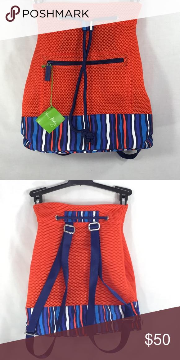 62ff8d51fd NWTS Vera Bradley Mesh Backpack Sport Mesh NWTs Orange with Colbalt Stripes  Sporty Knit Mesh Nylon Mesh with Mesh Lining. Zipper Closure Mesh Backpack  ...
