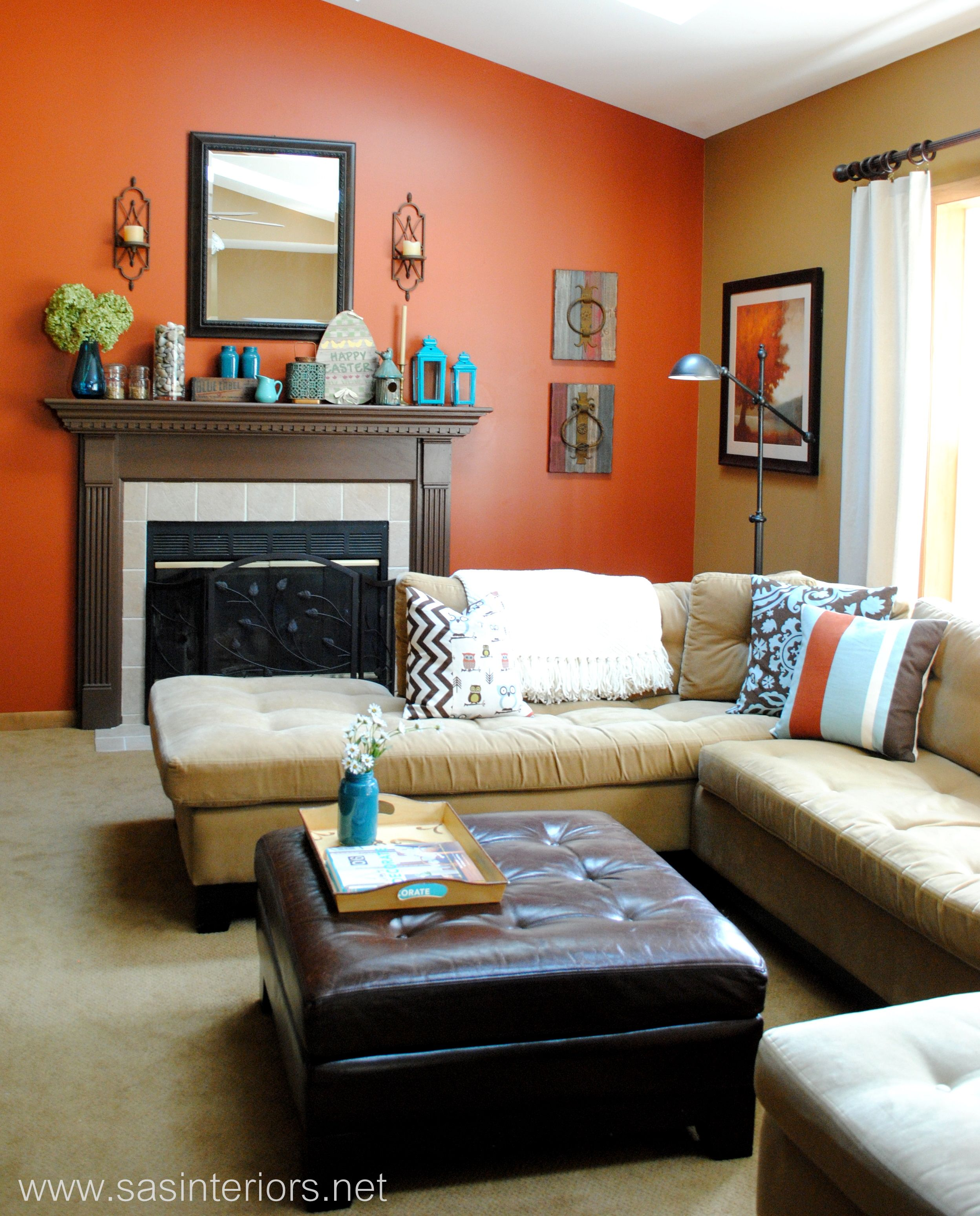 Spring Mantel With Shades Of Turquoise Sas Interiors Living Room Orange Burnt Orange Living Room Living Room Turquoise