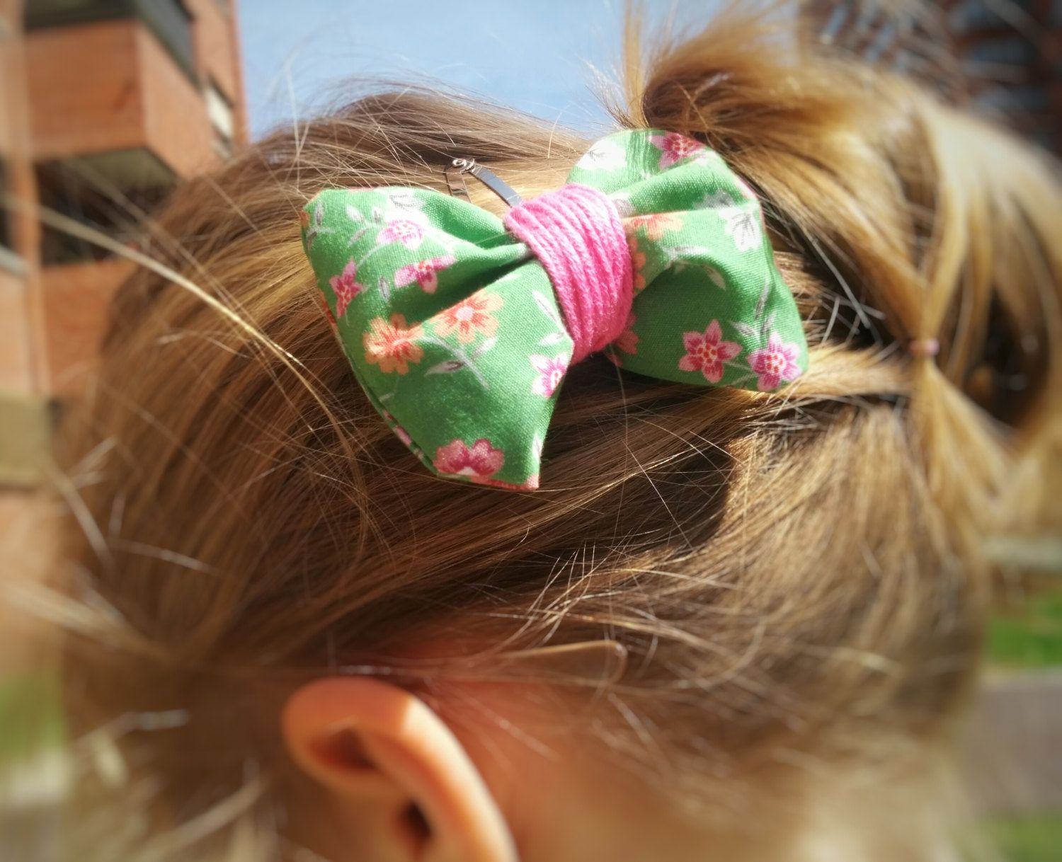 Hair pin ribbon made with stuffed fabric pink flowers for girls