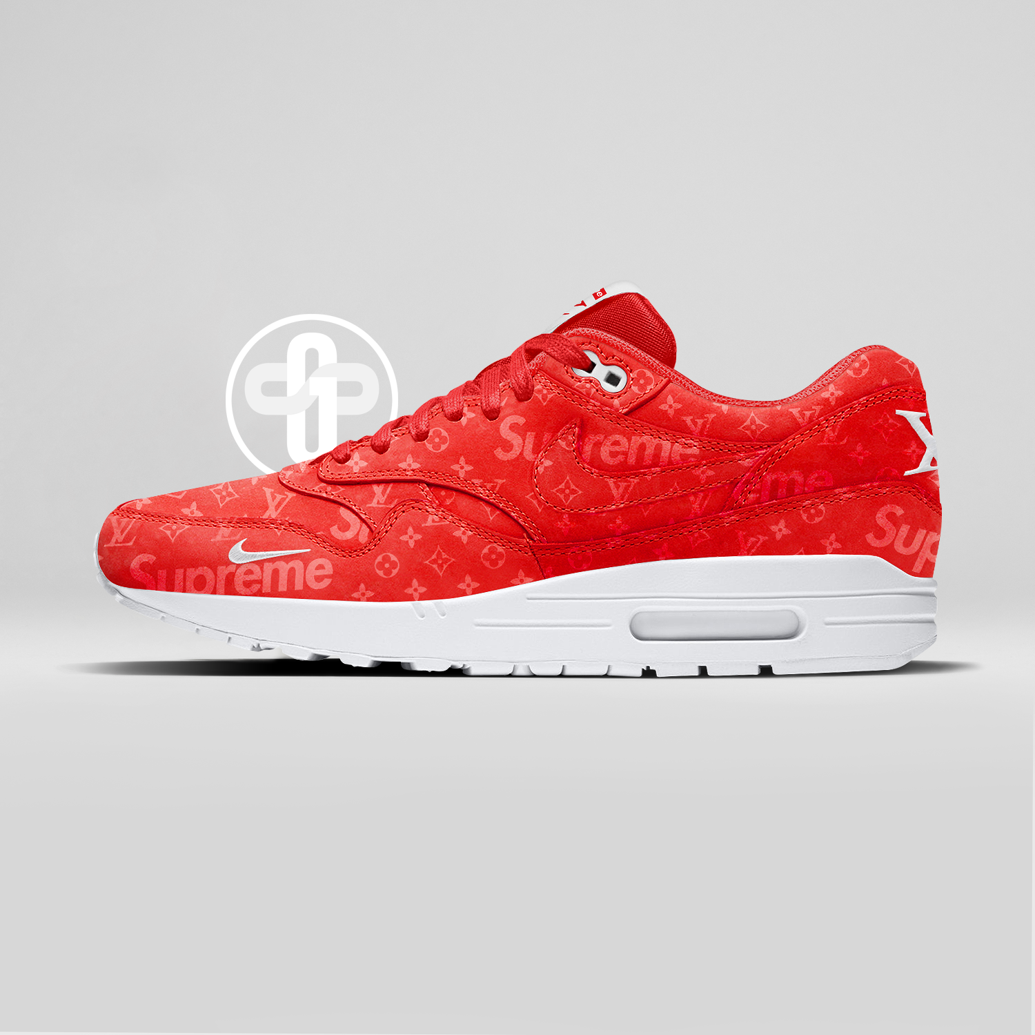 Louis Vuitton x Supreme x Nike Air Max 1 Pure Red