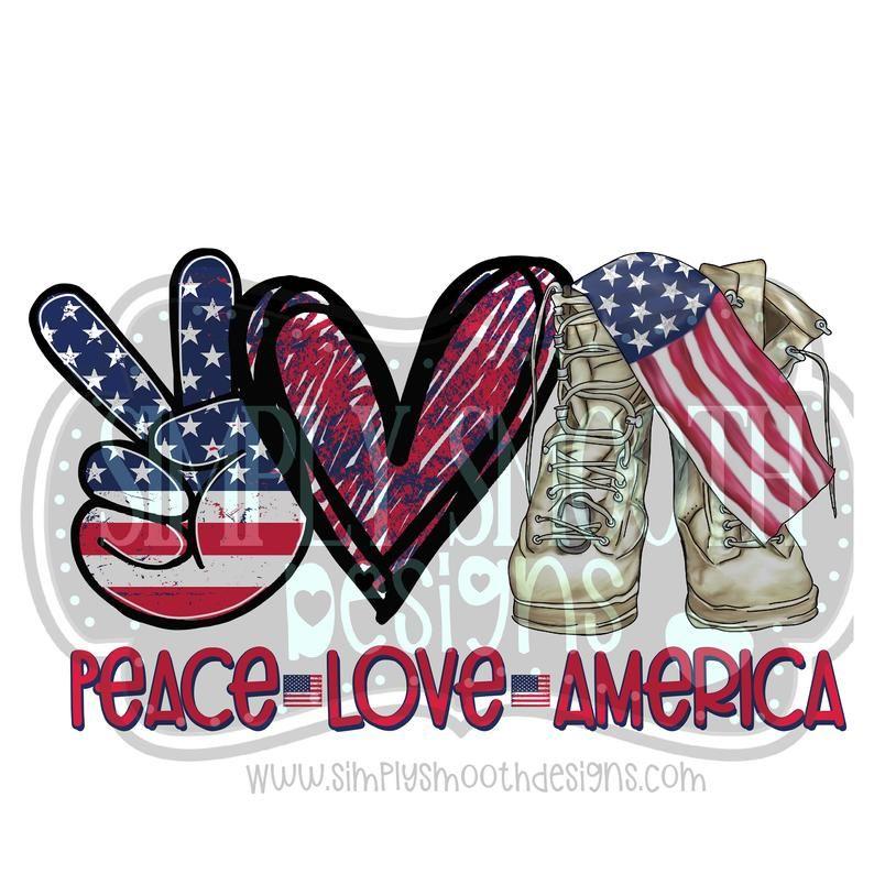 Peace Love Merica American Flag Sublimation Design Printable Digital Clipart Hi Resolution SVG Design Cut File PNG Download DTG Printing