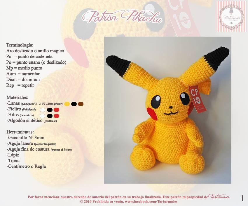 Patrón amigurumi de Pikachu | Patrón gratis | Pikachu crochet ...