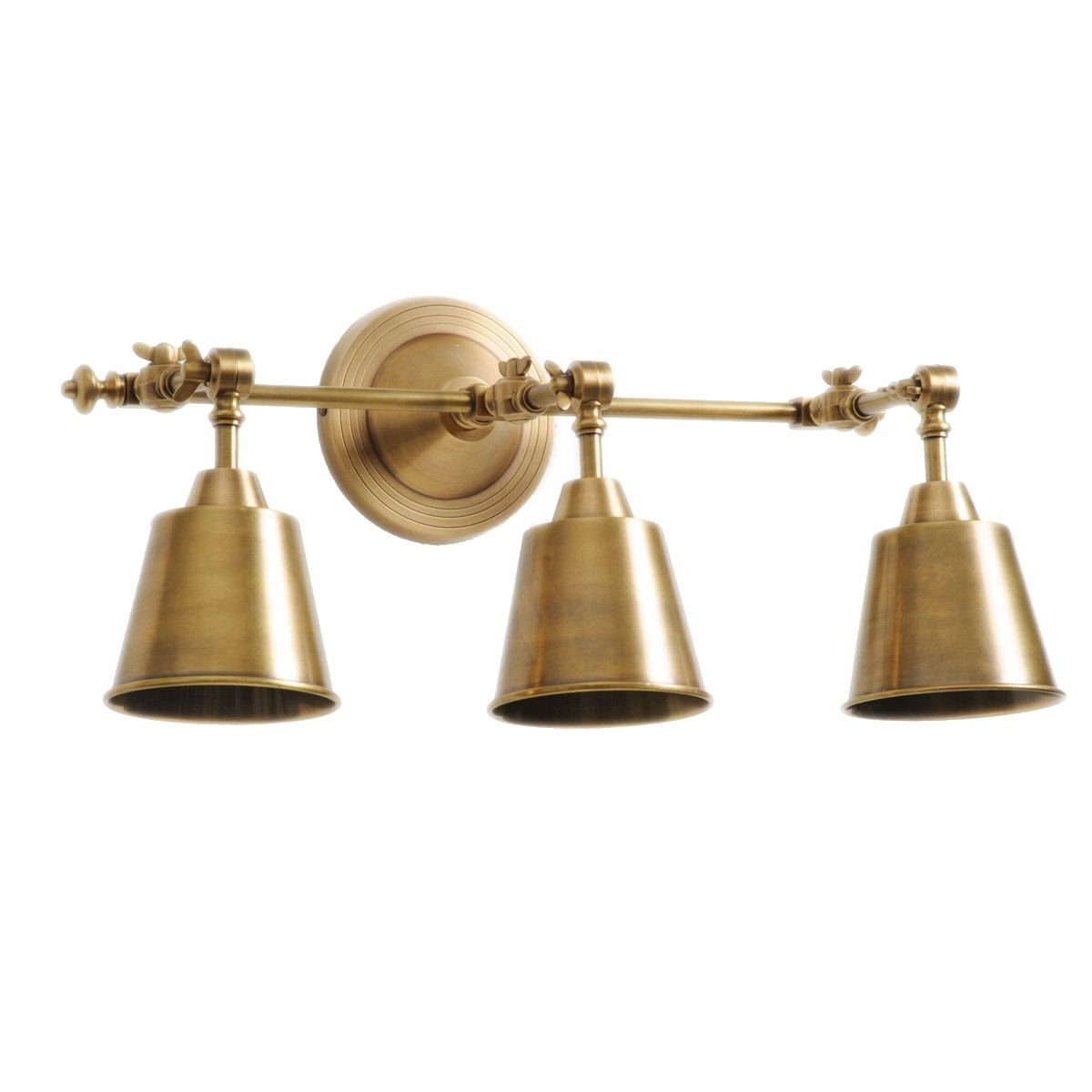 Barbara Cosgrove Library Three Light Antiqued Brass Wall Sconce - Antique brass bathroom light fixtures for bathroom decor ideas