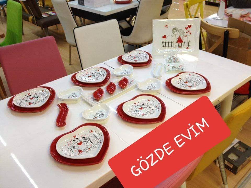 keramika kalp model 6 kisilik kahvalti takimi kutahyaporselen yemektarifleri ceyizim ceyizhazirligi yenigelinevleri kesfetteyiz ke table settings table