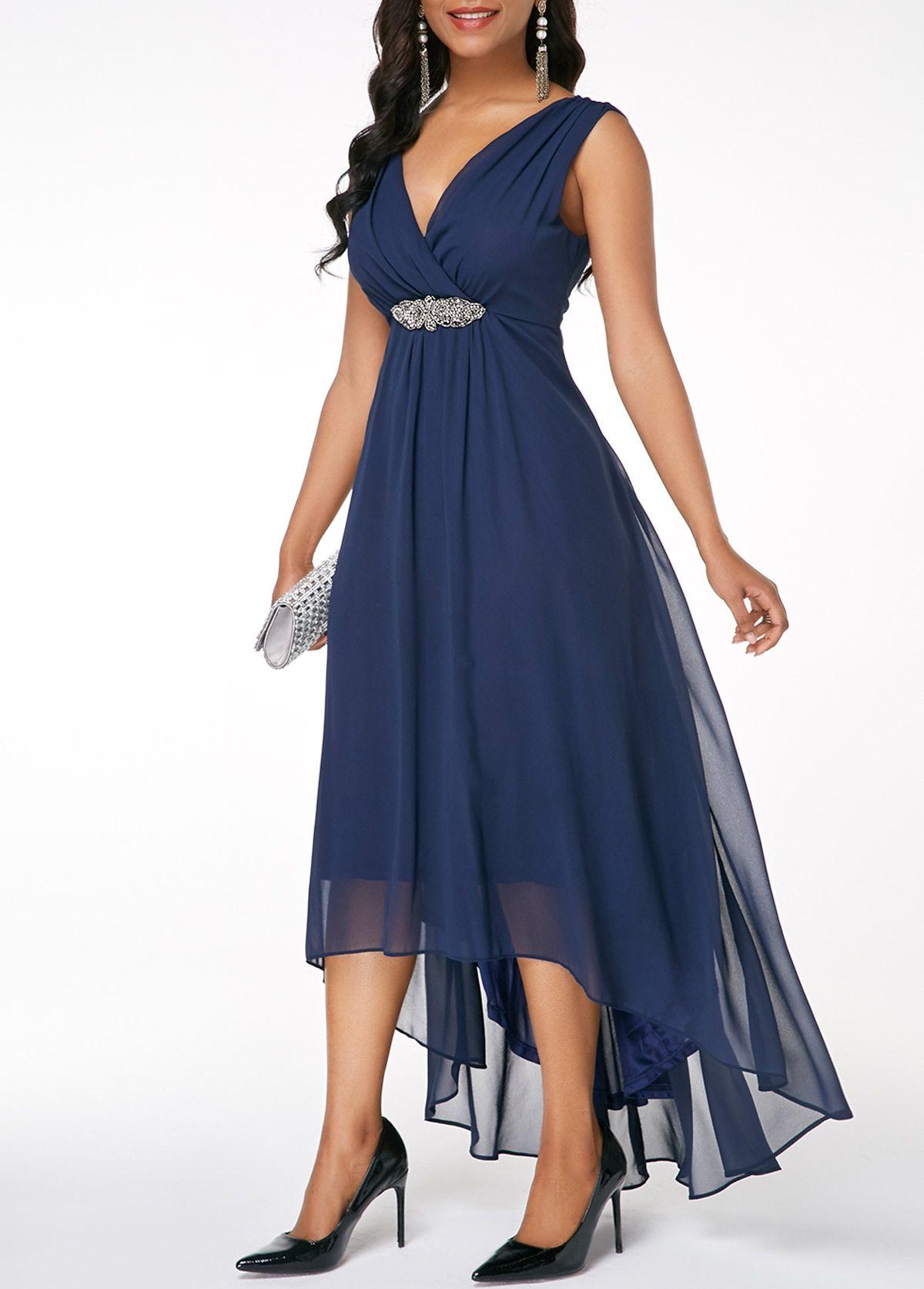 Sleeveless V Back High Low Navy Blue Dress Rosewe Com Usd 36 00 Navy Cocktail Dress Blue Dresses Fashion Dresses