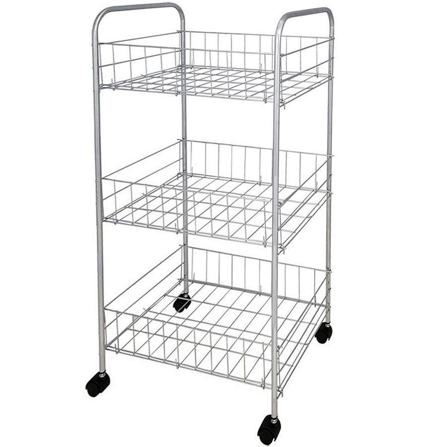 3 Tier Shelf Kitchen Chrome Storage Trolley Wheels Veg Fruit Cart Storage Rack Ebay Home Garden Storage Rack Storage Shelves Shelves