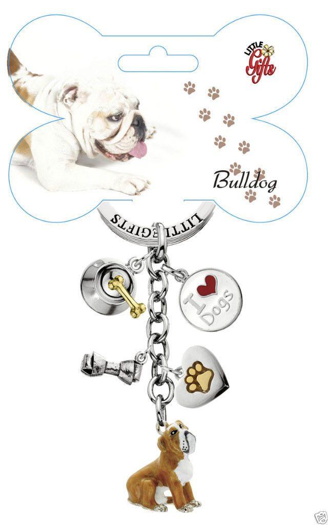 Little Gifts Enamel Bulldog Dog Key Chain Ring 5 Charms Bone Dish Paw Gift   eBay