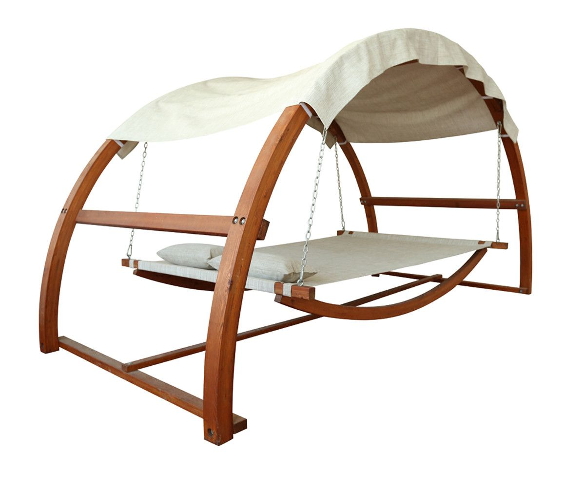 Hammock style outdoor wooden swing bed with canopy ideas for the