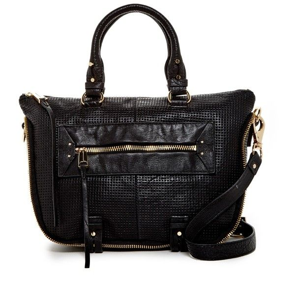 she + lo Rise Above Mini Leather Satchel ($190) ❤ liked on Polyvore featuring bags, handbags, sbblp, leather satchel purse, genuine leather handbags, mini satchel handbags, pebbled leather satchel and perforated leather handbag