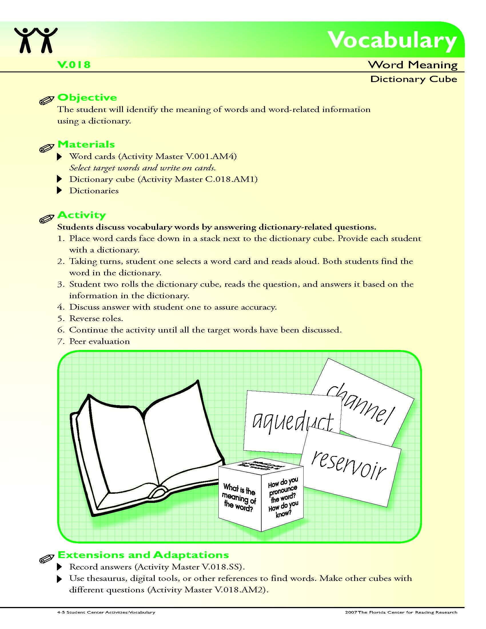 small resolution of The student will identify the meaning of words and word-related information  using a dictionary.   Dictionary activities