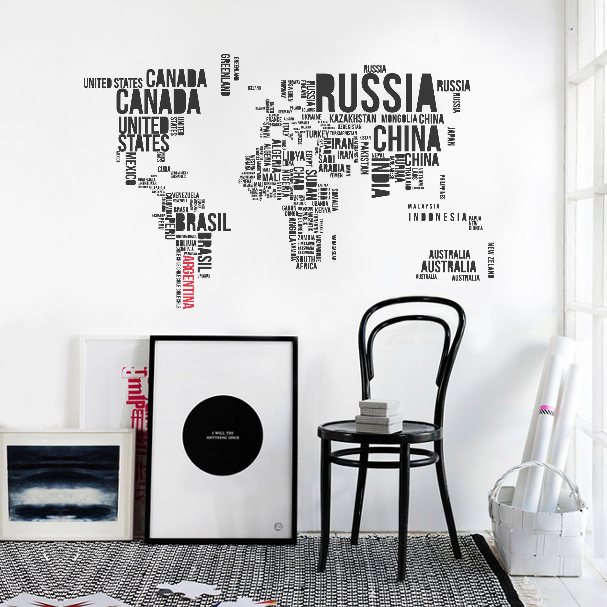 Vinilo decorativo Home Planisferio tipogr fico Vinilos