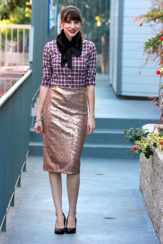Rose Gold Sequin Midi Skirt, red plaid shirt, fur collar ...