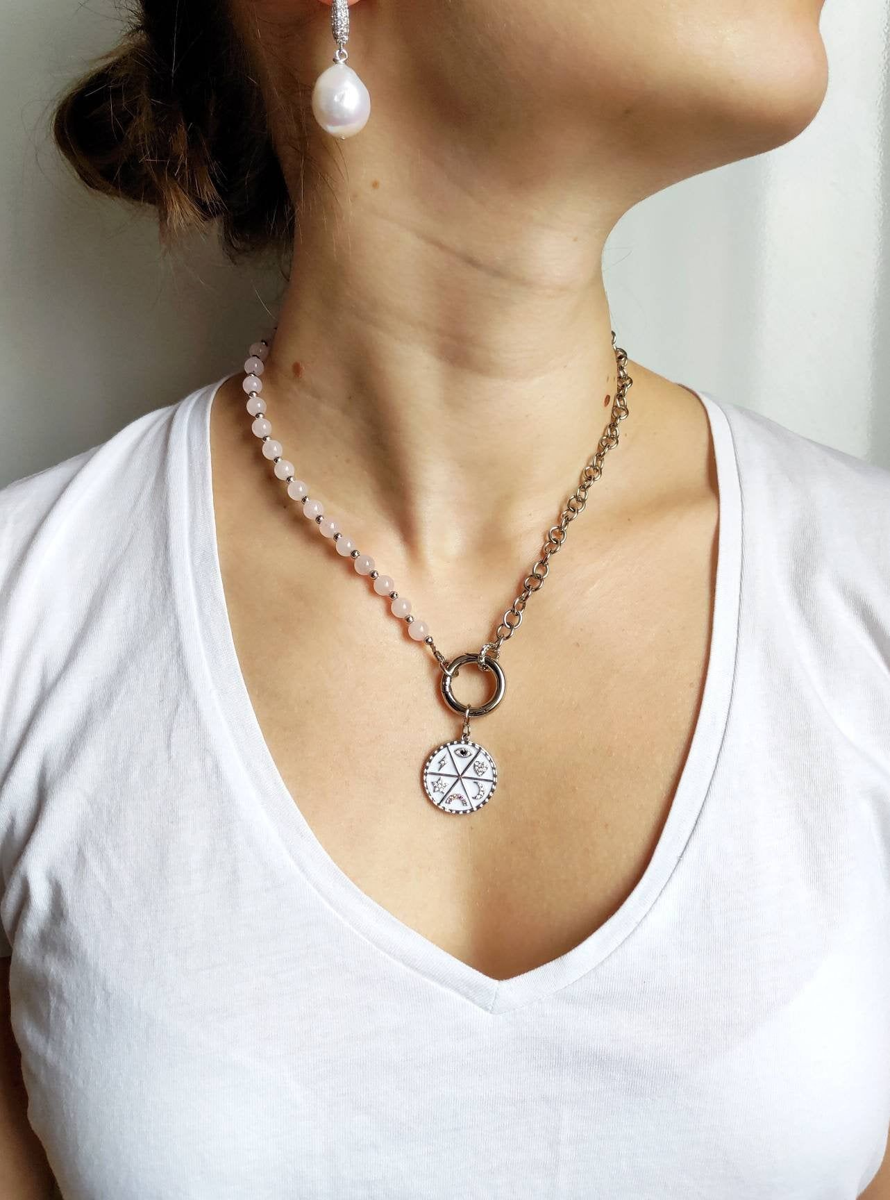Rose Quartz Necklace Large Baroque Pearl Pendant Choker Statement Jewelry Gift For Her Freshwater Pearl Necklace Pink Beaded Necklace