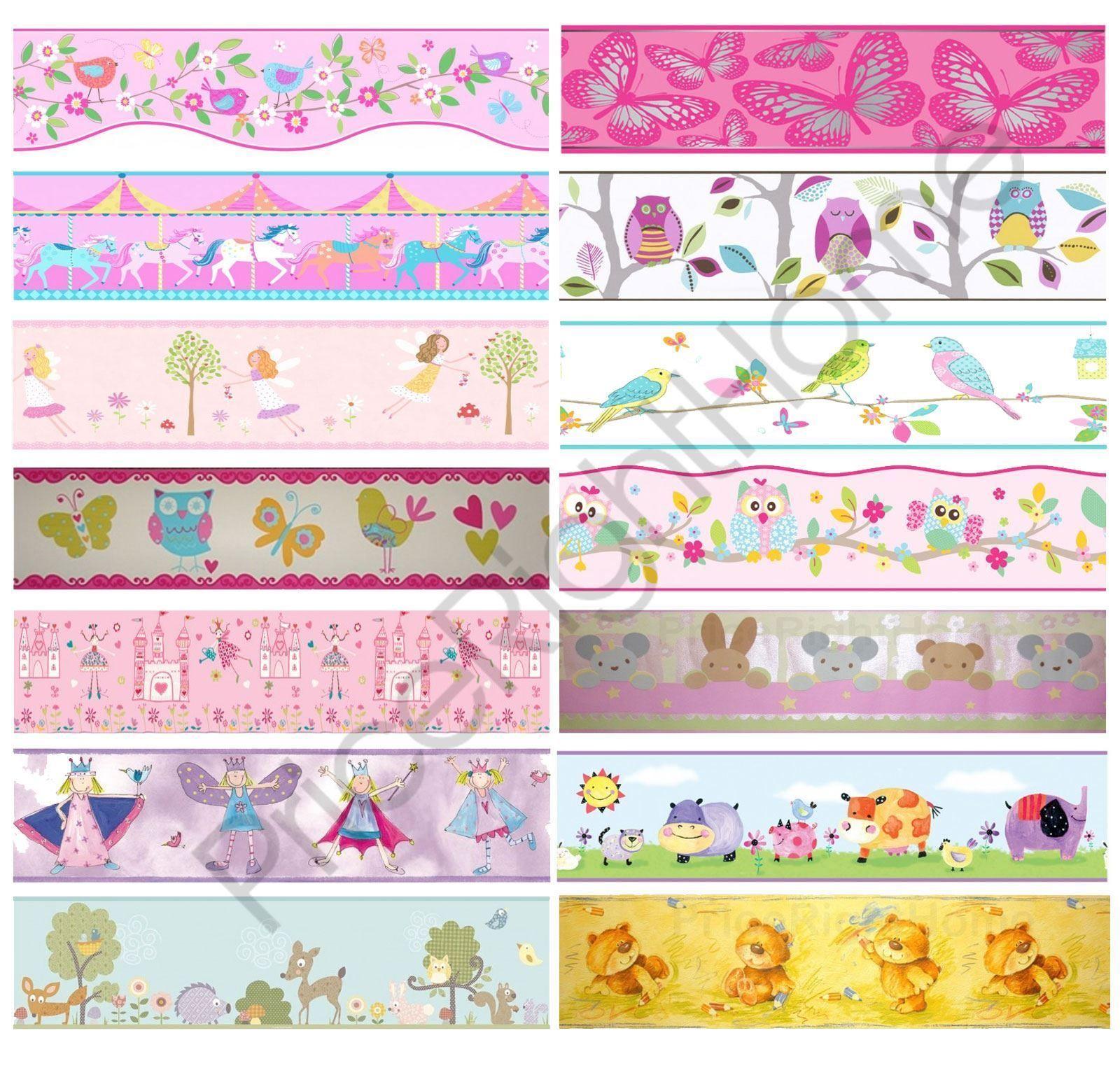 Girls Generic Bedroom Wallpaper Borders Butterfly Flowers Birds Wall Decor Kids Ebay Hom Little Girl Wallpaper Girls Wallpaper Border Girls Bedroom Wallpaper