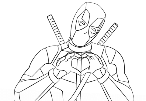 Deadpool Making Heart Shape With Hands Coloring Page Free Printable Coloring Pages Superhero Coloring Pages Superhero Coloring Avengers Coloring