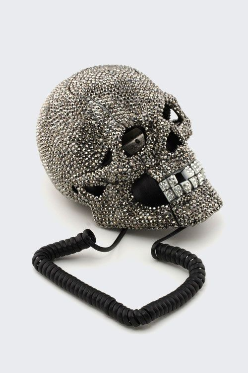 Skull Telephone With Crystal All Around. Eyes Lights Up (Blue LED) When  Phone Is Ringing. Comes With Phone Cord And Box. 5