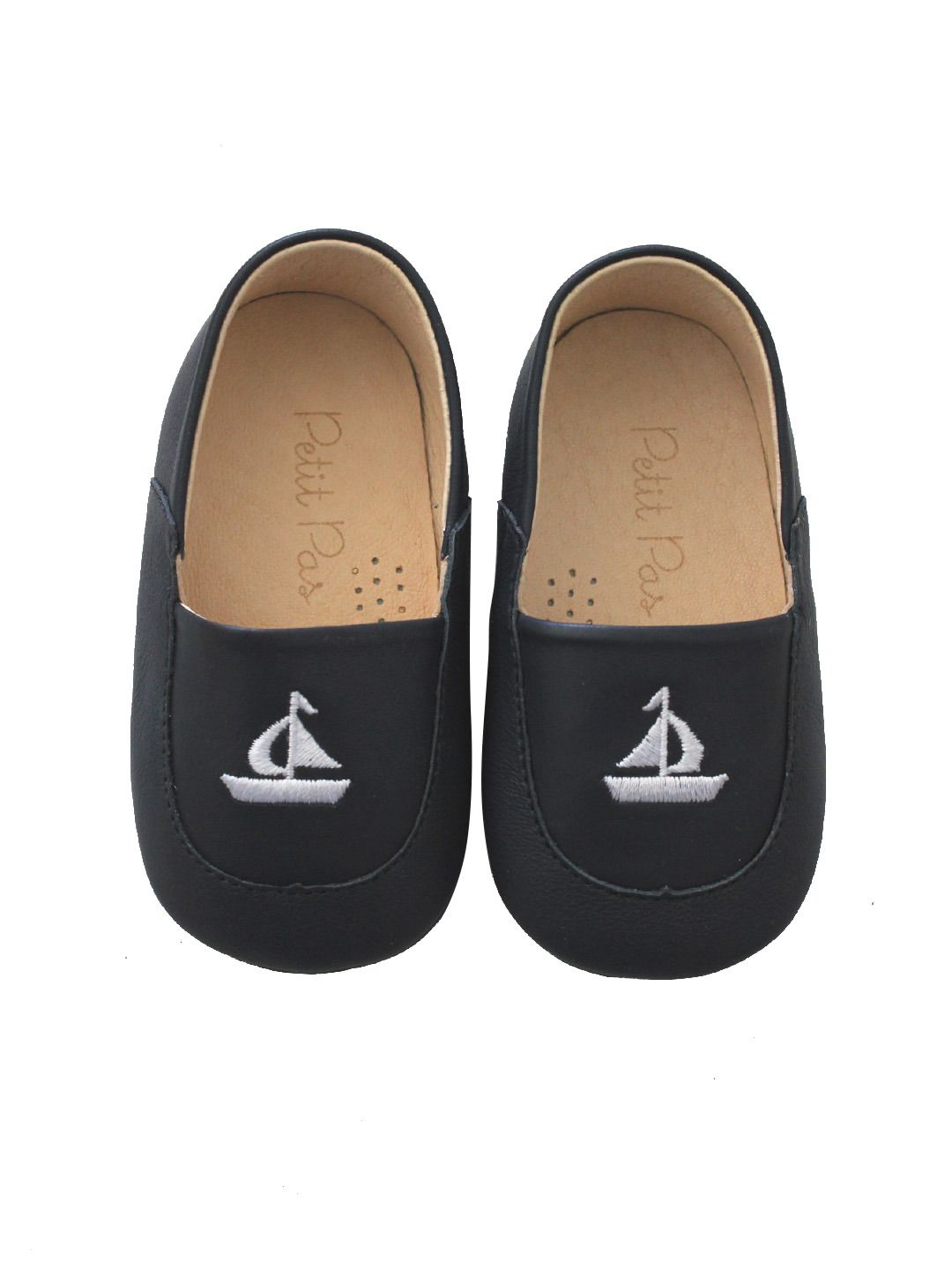 450f567fad45f Navy Sailboat Embroidered Loafers by Petit Pas at Gilt | Baby ...