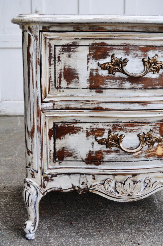 Chalk painted distressed furniture shabby cottage chic side table hand painted  antique white finished with a - On Hold For Edna Dark Walnut Stain, Walnut Stain And Tea Stains