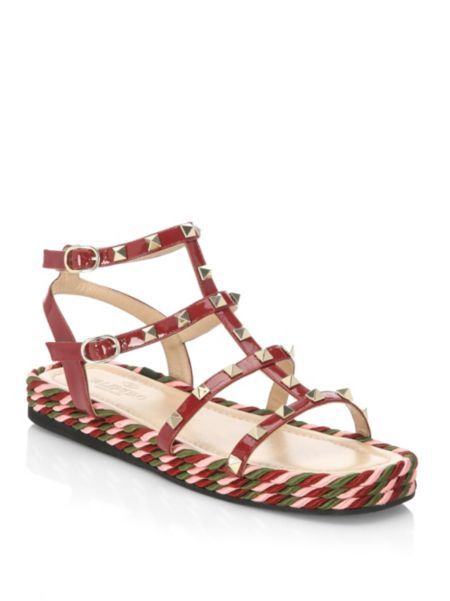 VALENTINO GARAVANI - Torchon Leather Sandals | Leather ...