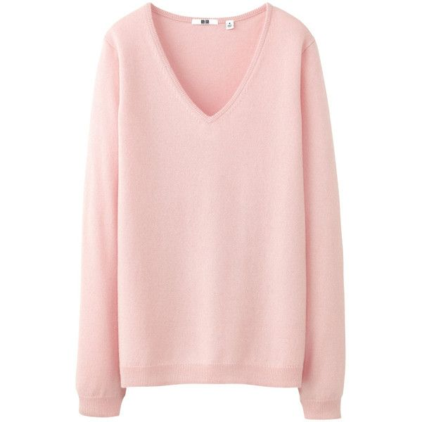 Uniqlo Women Cashmere V Neck Sweater 50 Found On Polyvore Pink