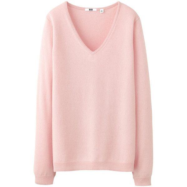 Uniqlo Women Cashmere V Neck Sweater 50 Found On Polyvore Pink