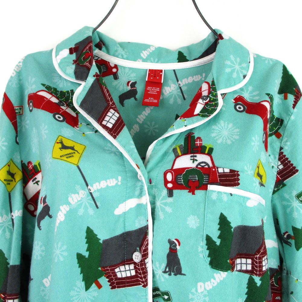 Womens XXL Christmas Pajama Top Shirt Plus Size Flannel