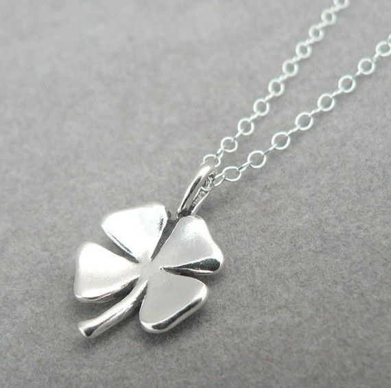 Four leaf clover sterling silver lucky charm pendant necklace good i can always use a little more luck in my life love this simple 4 leaf clover pendant mozeypictures Image collections