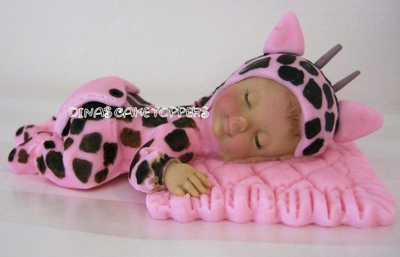 Pink Giraffe Baby Shower Cake Topper 1st by DinasCakeToppers, $35.00