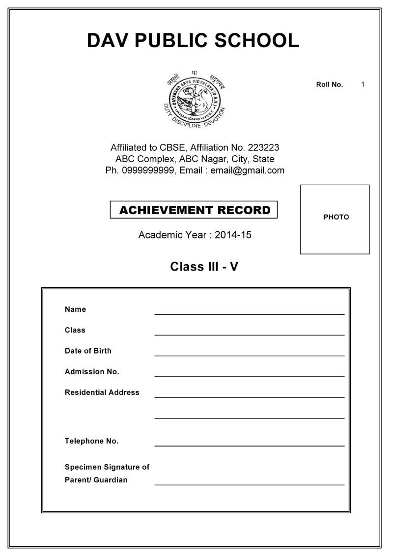 Cbse Report Card Format For Primary Classes I To V Report Card Letter To Parents Cards