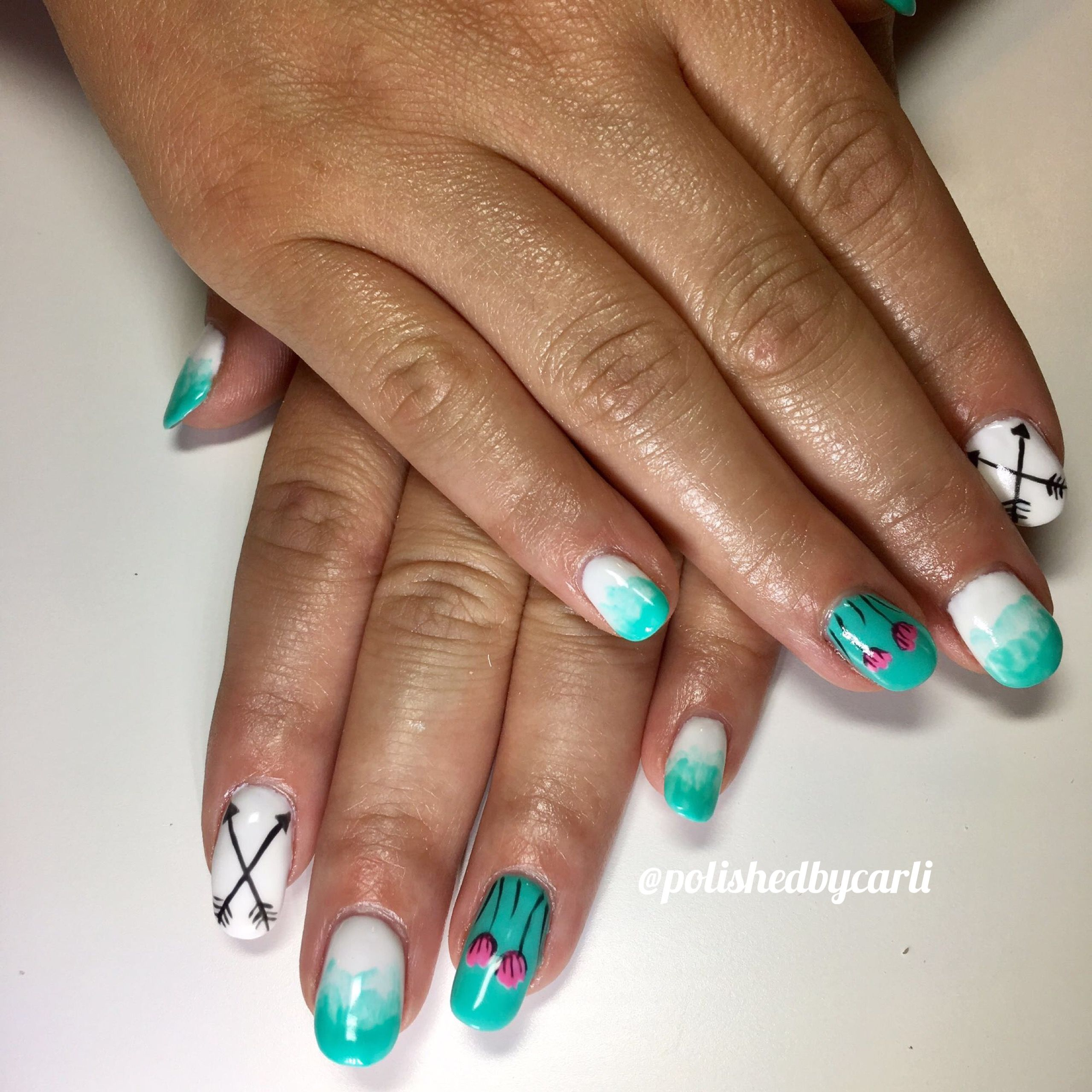 Arrows and flowers nail art. Follow on Instagram