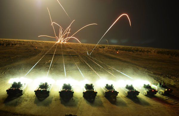 Indian Army tanks firing at night during Exercise