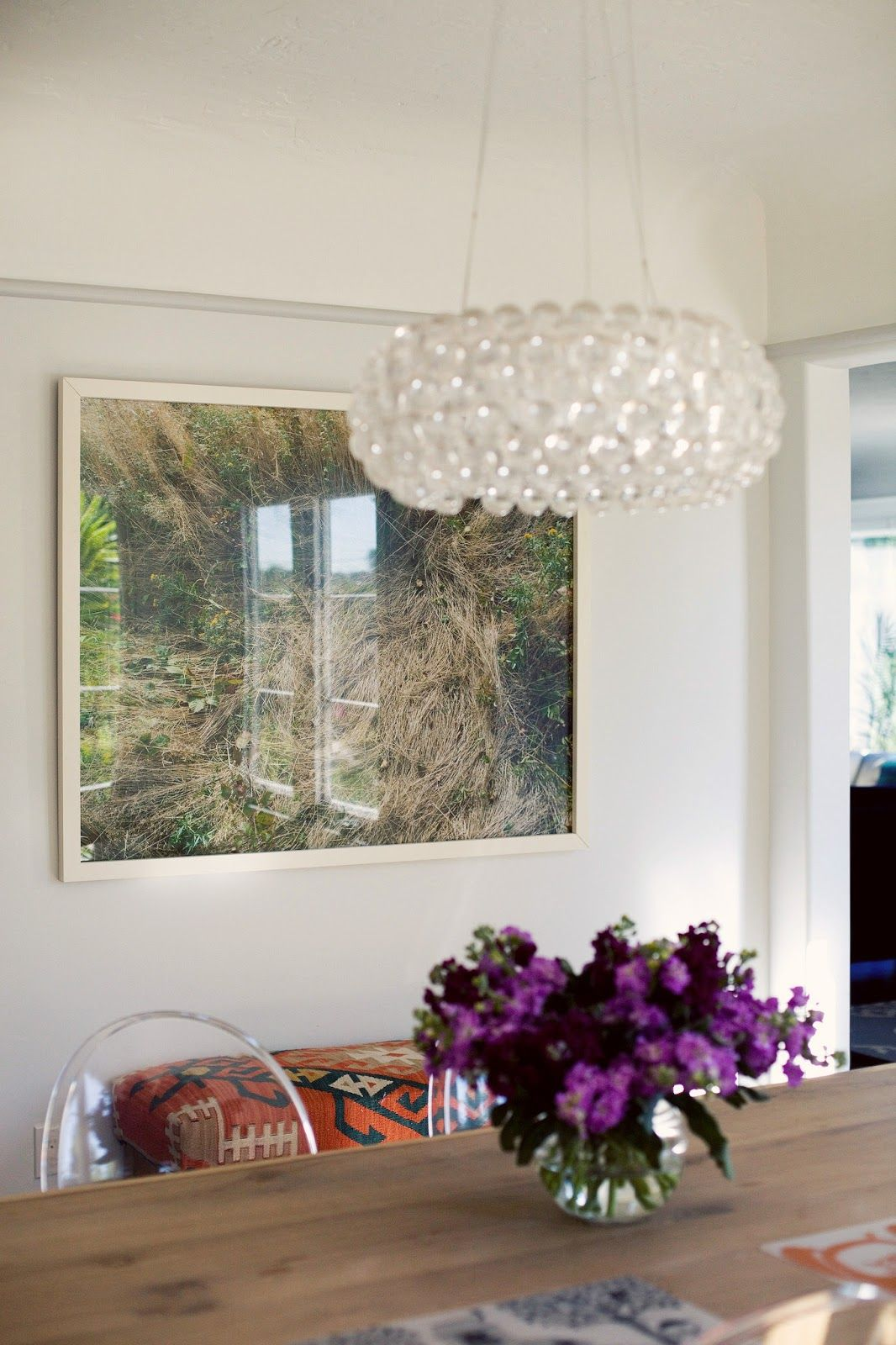 Deer bed photograph: Katherine Wolkoff, and chandelier, via A CUP OF JO: Los Angeles home tour