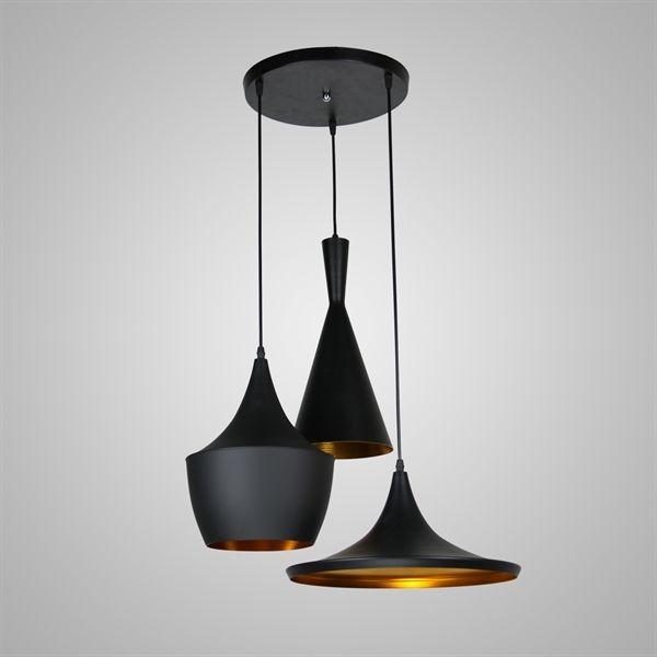Achetez en stock pendentif 3 lumière american style spinning fer noir en