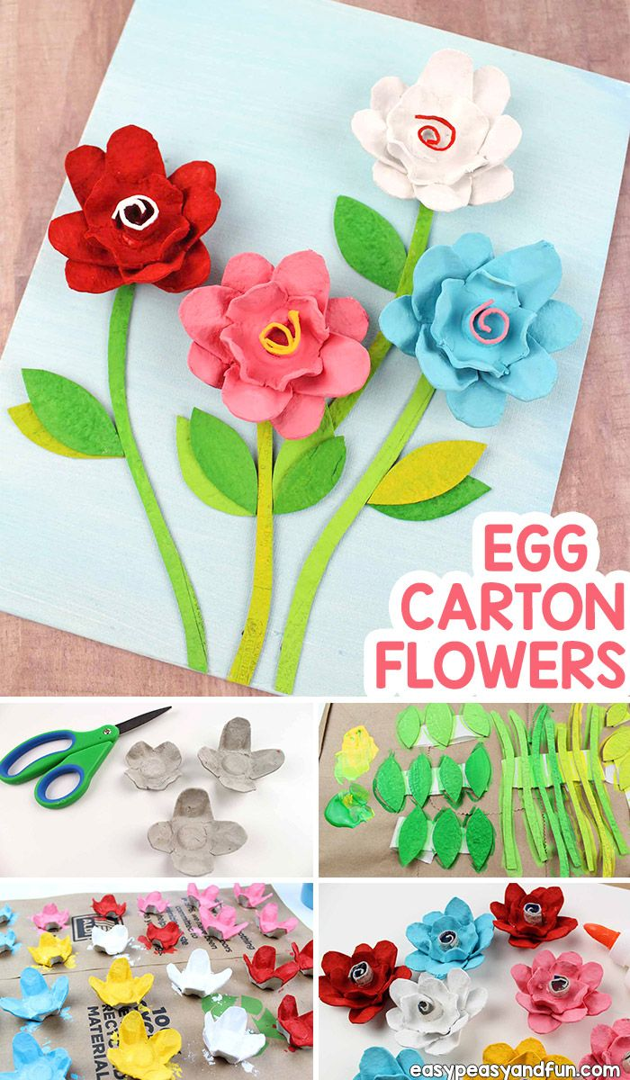Egg Carton Flowers - Recycled Egg Carton Crafts #recycledcrafts