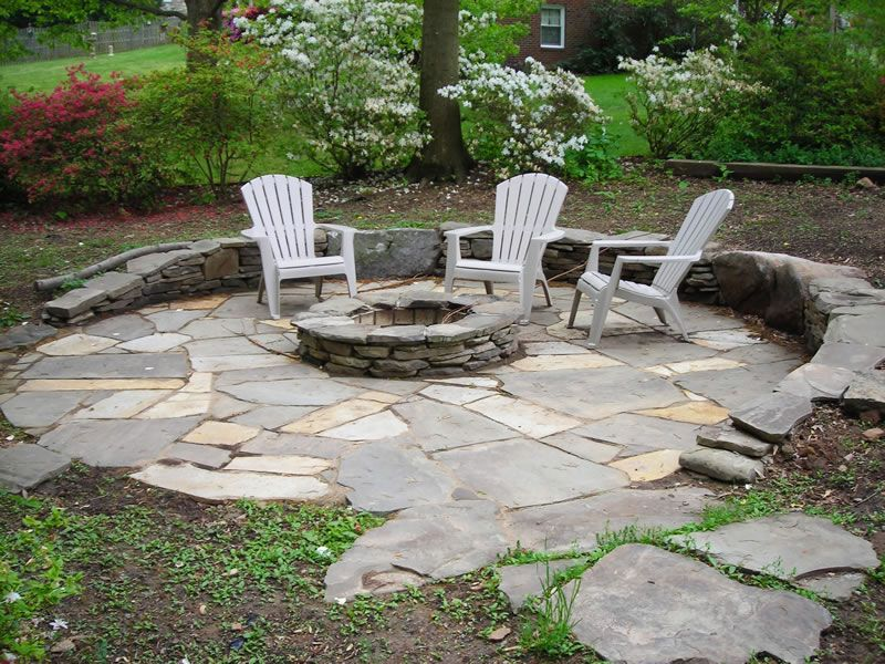 Flagstone Around A Fire Pit Build It Together With A New Flagstone Patio And A Stone Sitting Wall Fire Pit Patio Fire Pit Patio Diy Backyard Fire