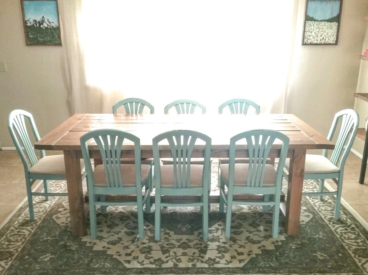 Diy Dining Table And Chairs Painted In Rustoleum S Serenity Blue Chalk Paint Chalk Paint Chairs Blue Dining Chair Redo Furniture