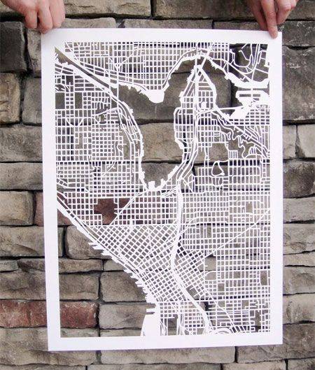 Hand Cutted Paper Maps Map Design Seattle Map Map Art